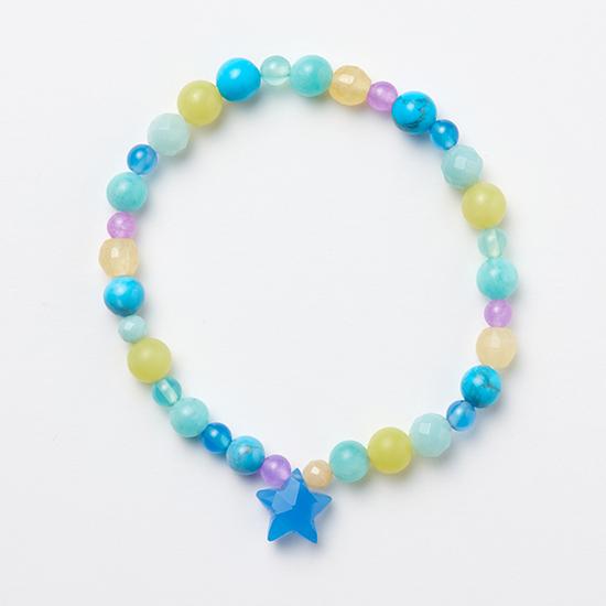 [CADEAUX]天然石×ヴィンテージビーズのカラフルブレスレット【星(ブルー)】