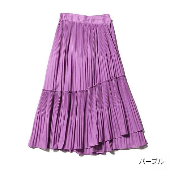 【優待価格】[プラスオトハ]華やかプリーツラップスカート(ウエストゴム仕様)