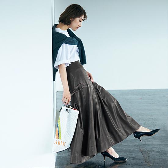 [Mila Owen]レザーライクナロースカート