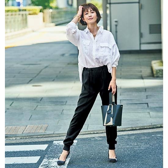 [S・girasole]センタープレス裾リブパンツ