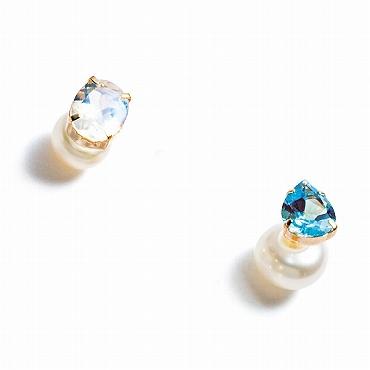 [Lamana Jewels]SetB 天然石&パールキャッチピアス ムーンストーン+ブルートパーズ